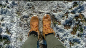 Feet on snowy ground