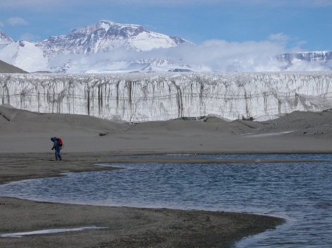 The Dry Valleys region of Antarctica is one of the most inhospitable places on earth. Scientists studying soils around the lake discovered that microbial activity dominates biological functioning in this ecosystem and that a diverse microbial population in the soil actively cycles carbon and nutrients. Photo: E Gregorich
