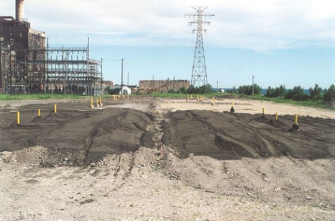 The former US Steel site is prepared for Hundal's research. Illinois River sediments were mixed with biosolids in various proportions. Turf was grown on various plots and results were compared. Credit: L. Hundal.
