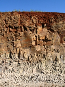Complete soil profile, Maracai, Brazil, a few days after being revealed by the construction works of a new road. It´s a good example of how the pedogenetic processes transform rocks into soil, the basis of life on the continents. Credit: Marcelo Nakashima