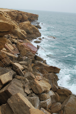 rocky beach with waves