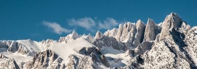 Snow on mountain tops.