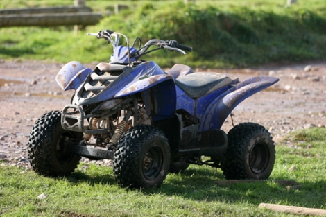 blue all terrain vehicle