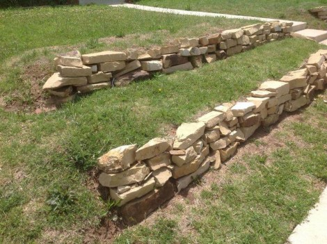 lawn with retaining walls for terracing