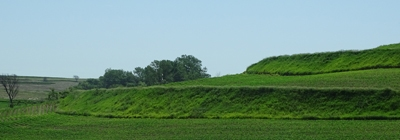 green terraces of loess soil in Iowa