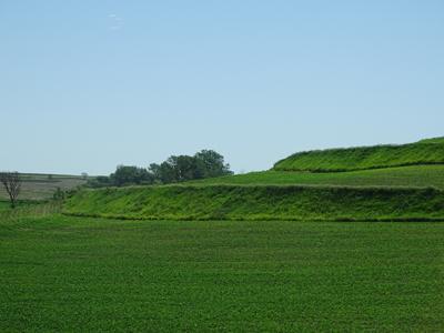 green terraces of loess soil in Iowa