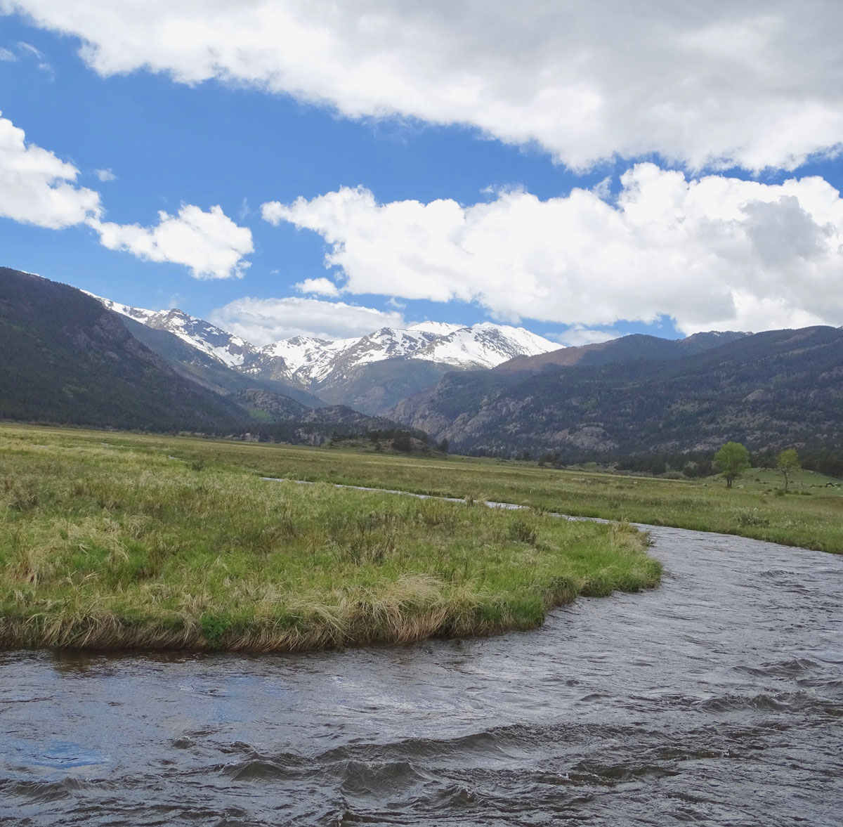 stream in foreground, mountain with snow in background