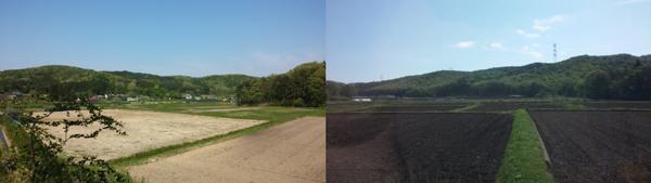 Light tan, unfertile soil on left, dark brown, fertile soil on right.