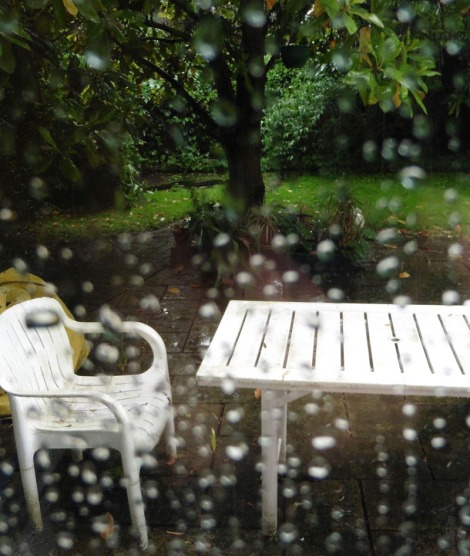 wet patio furniture and yard behind a water-droplet covered window