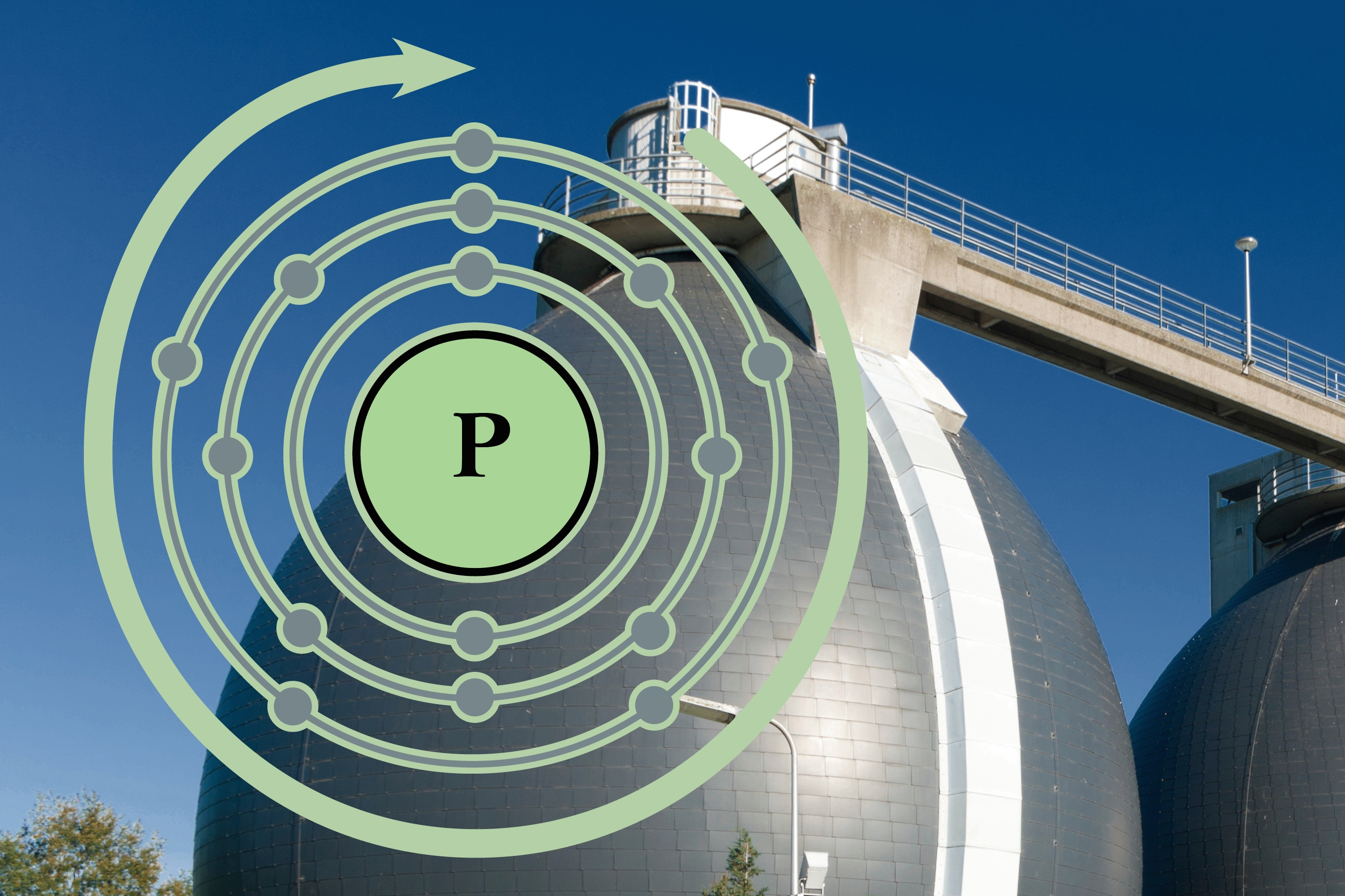 Graphic of a silver container of wastewater with a spiral marked P to show how we can retrieve phosphorus from wastewater