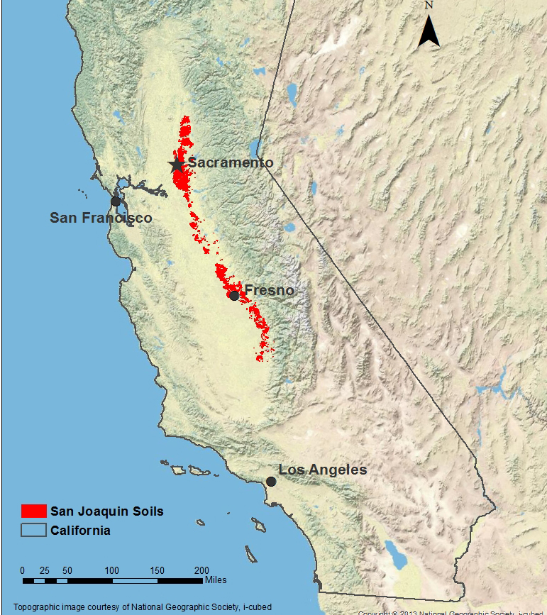 Map showing red dots that signify the location of the San Joaquin soil in California
