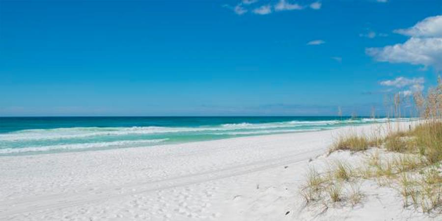 Sandy beach with clear skies