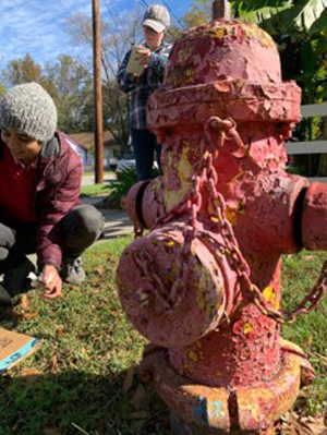 paint chipping heavily off a fire hydrant