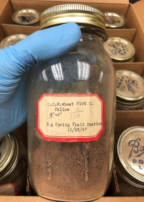hand holding labeled jar of soil